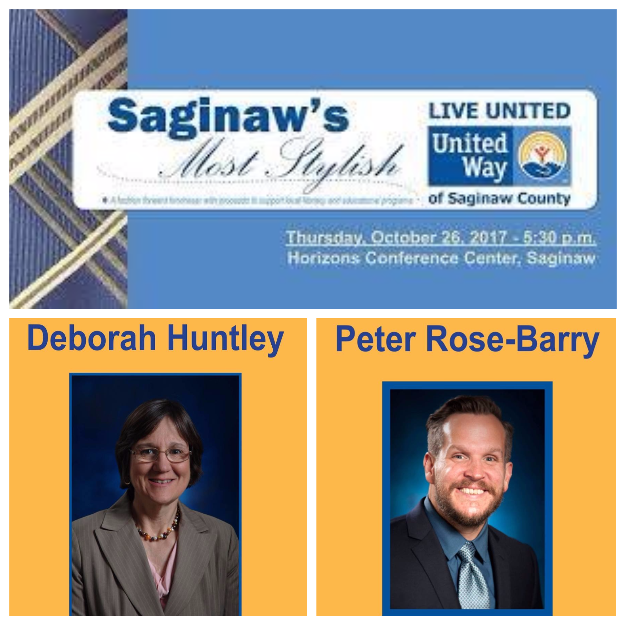 Provost Deborah Huntley and Peter Rose-Berry are participating in the Saginaw's Most Stylish fundraiser to raise money for literacy programs.