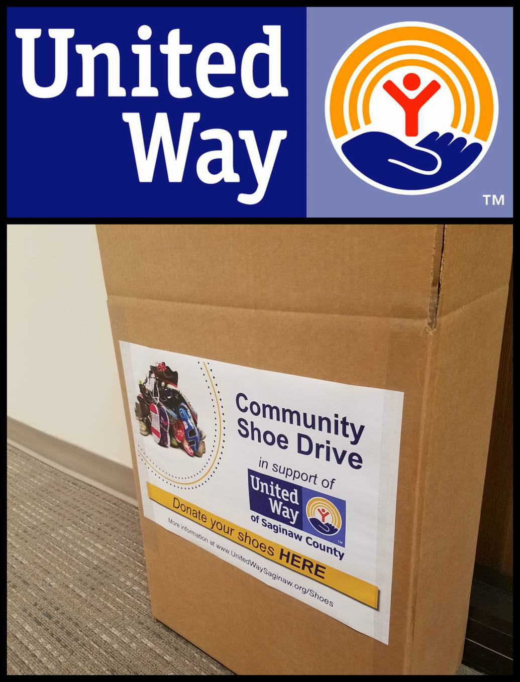 Collection bin for United Way of Saginaw County's used shoe drive
