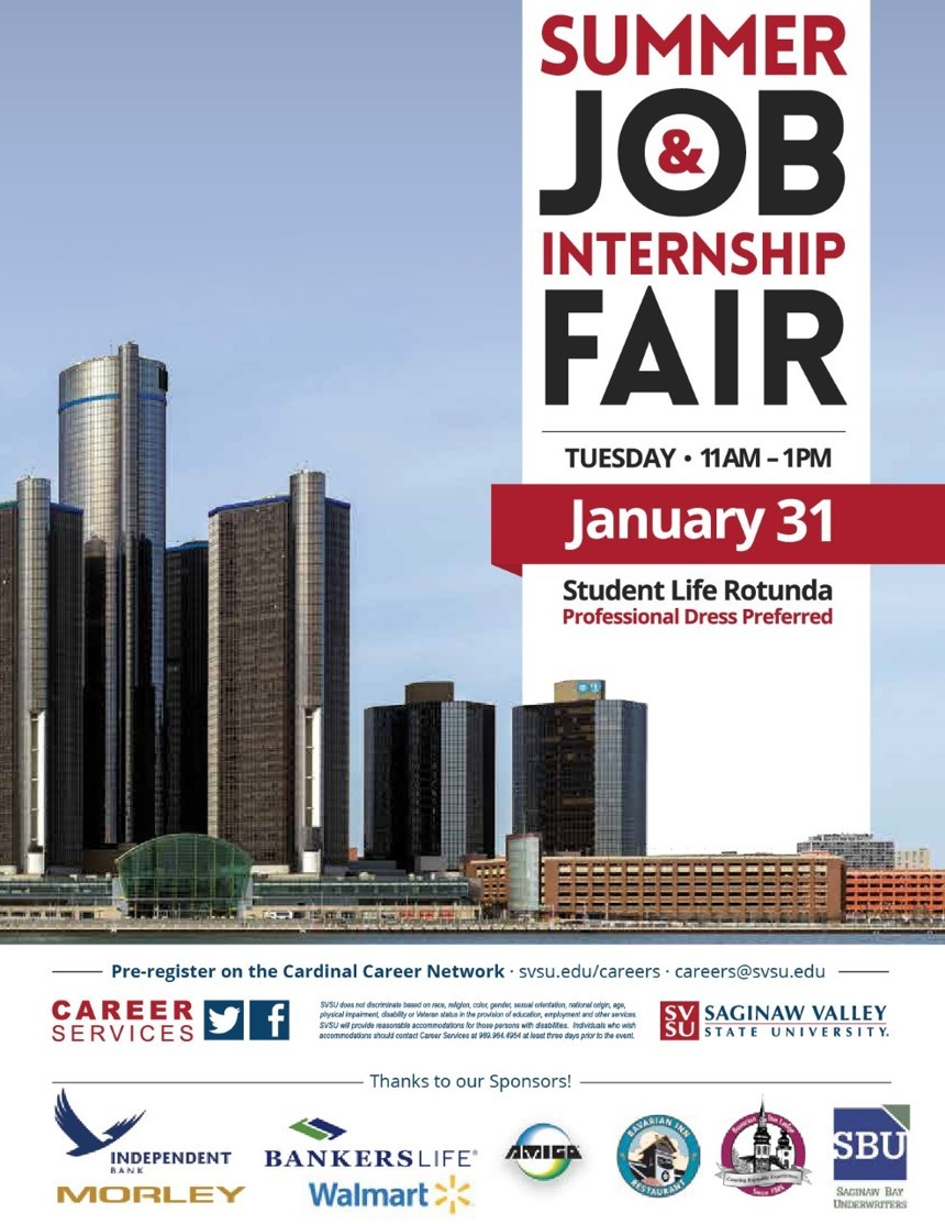 A poster for the summer job and internship fair Tuesday January 31.