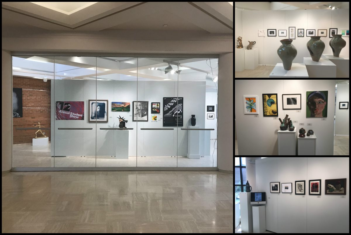 University Art Gallery hosts 12th Annual Student Show displaying artwork from 56 students, who submitted over 100 pieces of art.