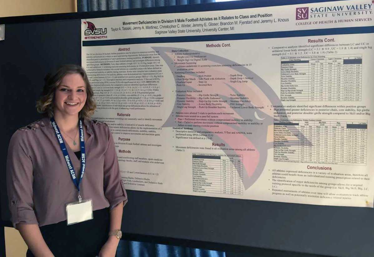 "Taylor Taraski, an exercise science major from Oxford, won the award for Outstanding Undergraduate Poster Presentation for her project, ""Movement Deficiencies in Division II Male Football Athletes as it Relates to Class and Position."""
