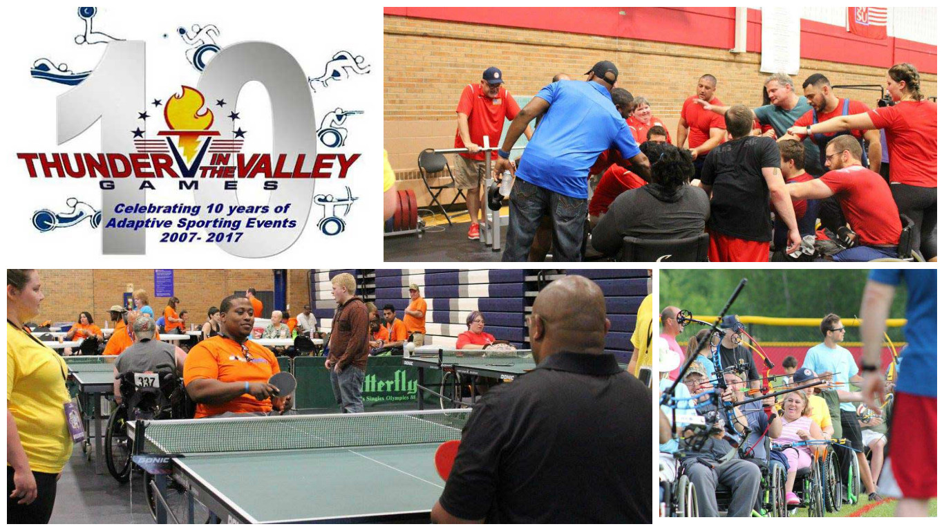 A collage of images from 2017 Thunder in the Valley games.