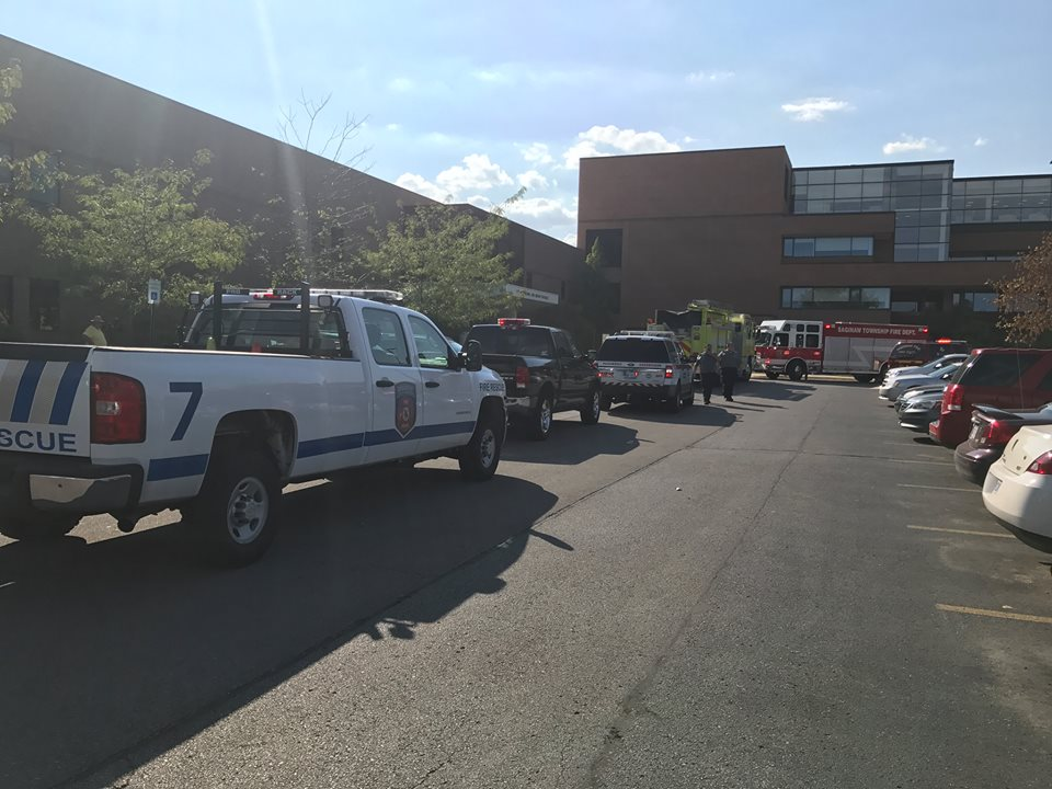 A photo taken by WJRT of the response to the chemical exposure incident in Science East 246 on Tuesday, September 26, 2017.