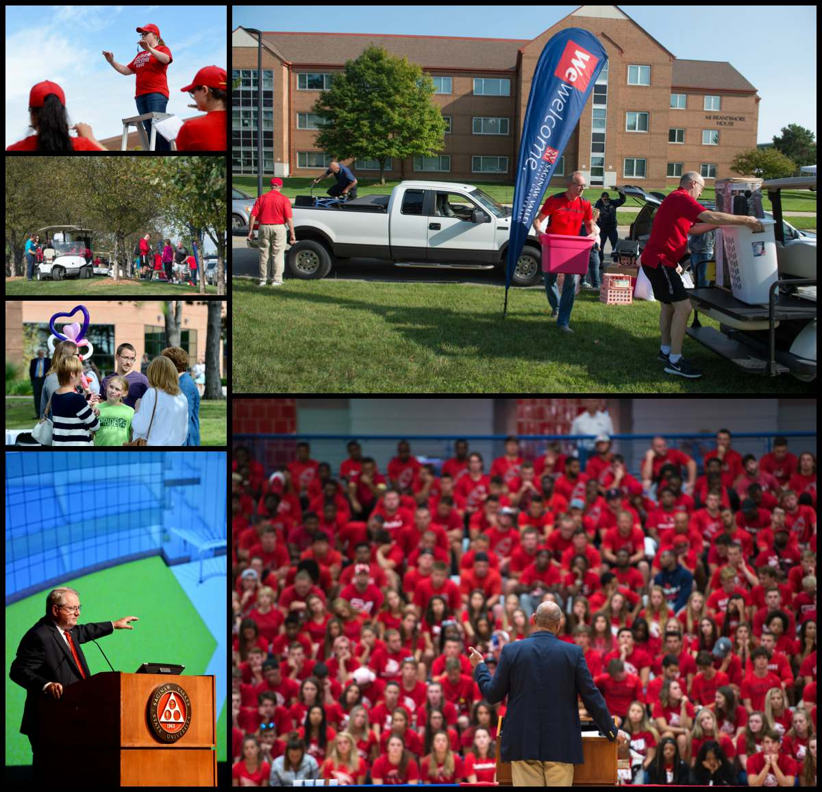 Collage of images from welcome weekend 2017 including residence halls move in, welcome back picnic, welcome address, and athletics convocation.