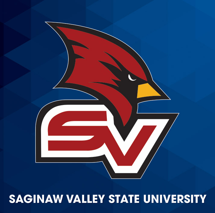 Athletics logo, Cardinal head on blue/black diamond gradient background with letters SV.