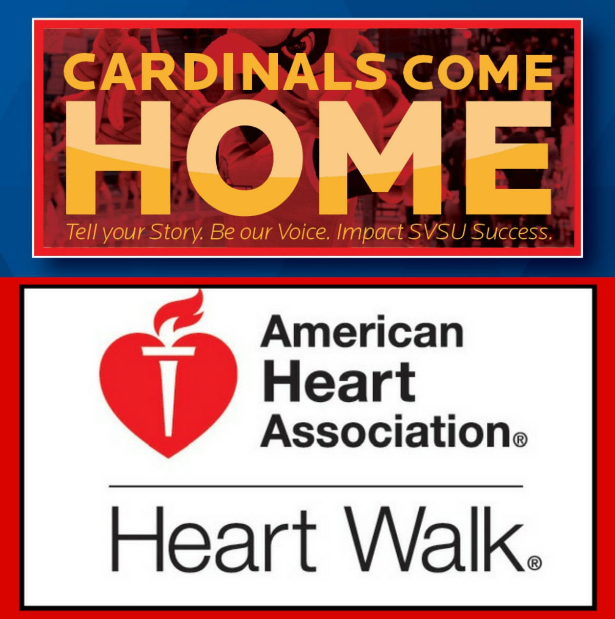 Graphic logos of Alumni Coming Home event and American Cancer Society Heart Walk