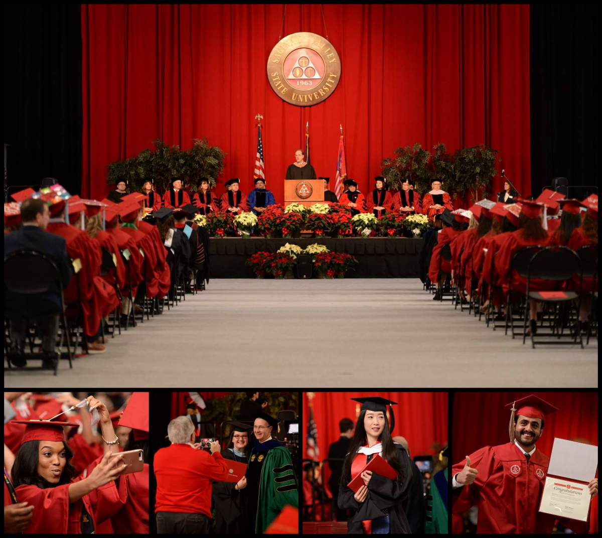 Collage of images from the December 2017 set of commencement ceremonies.