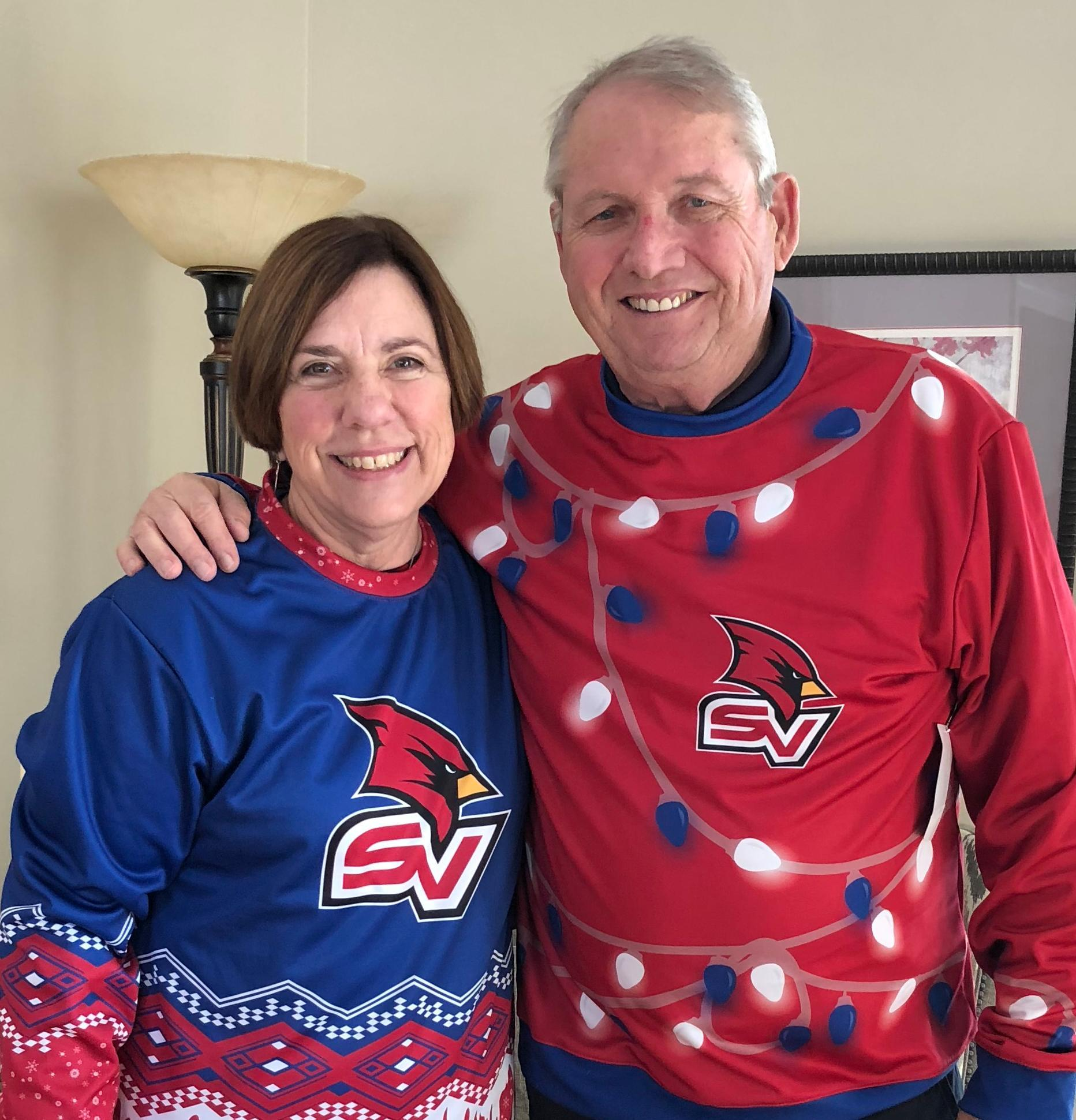Liana and Don Bachand in their new SVSU holiday sweaters.