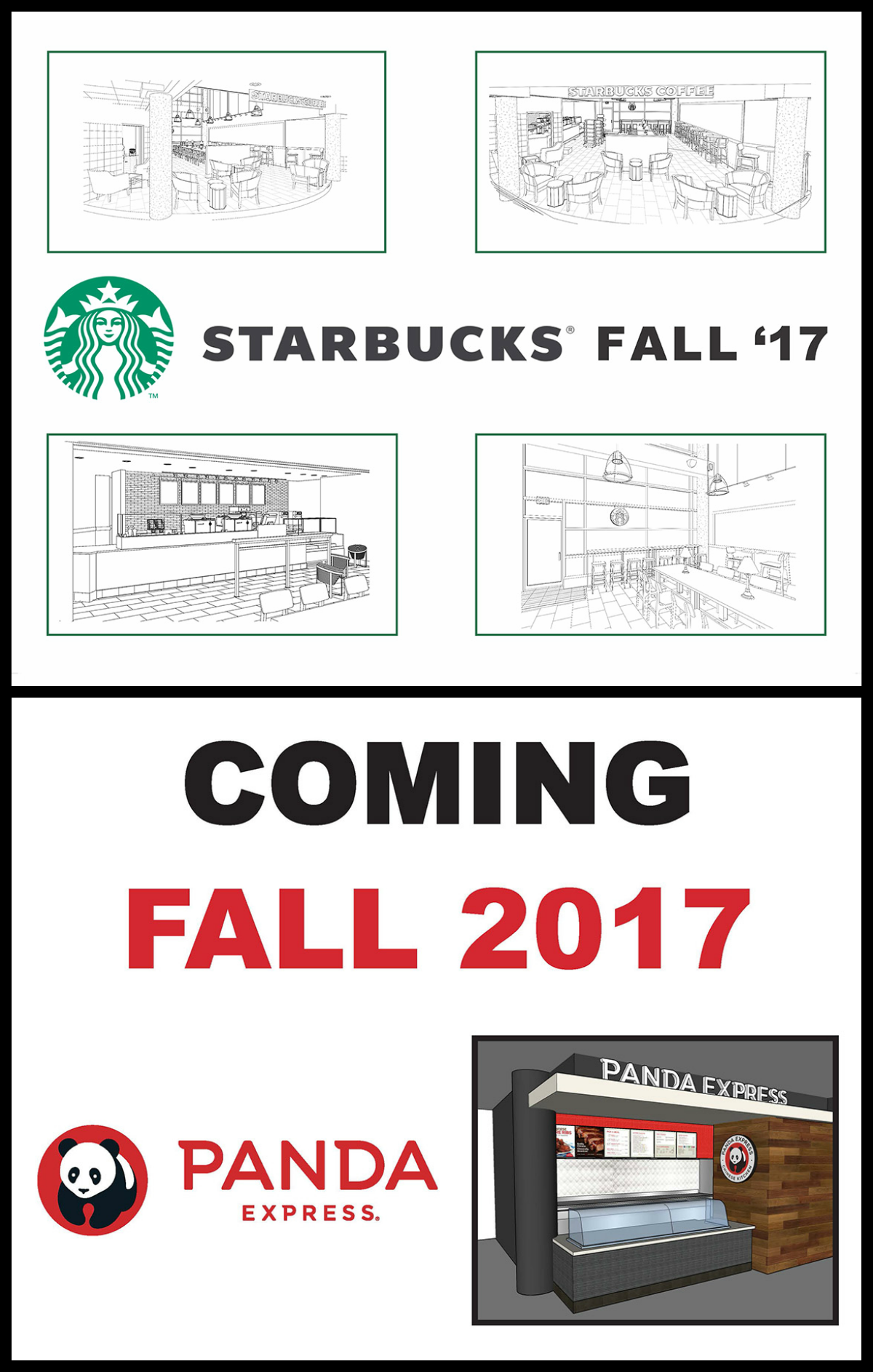 Albert E's food court and Starbucks both will close for construction purposes until August 2017