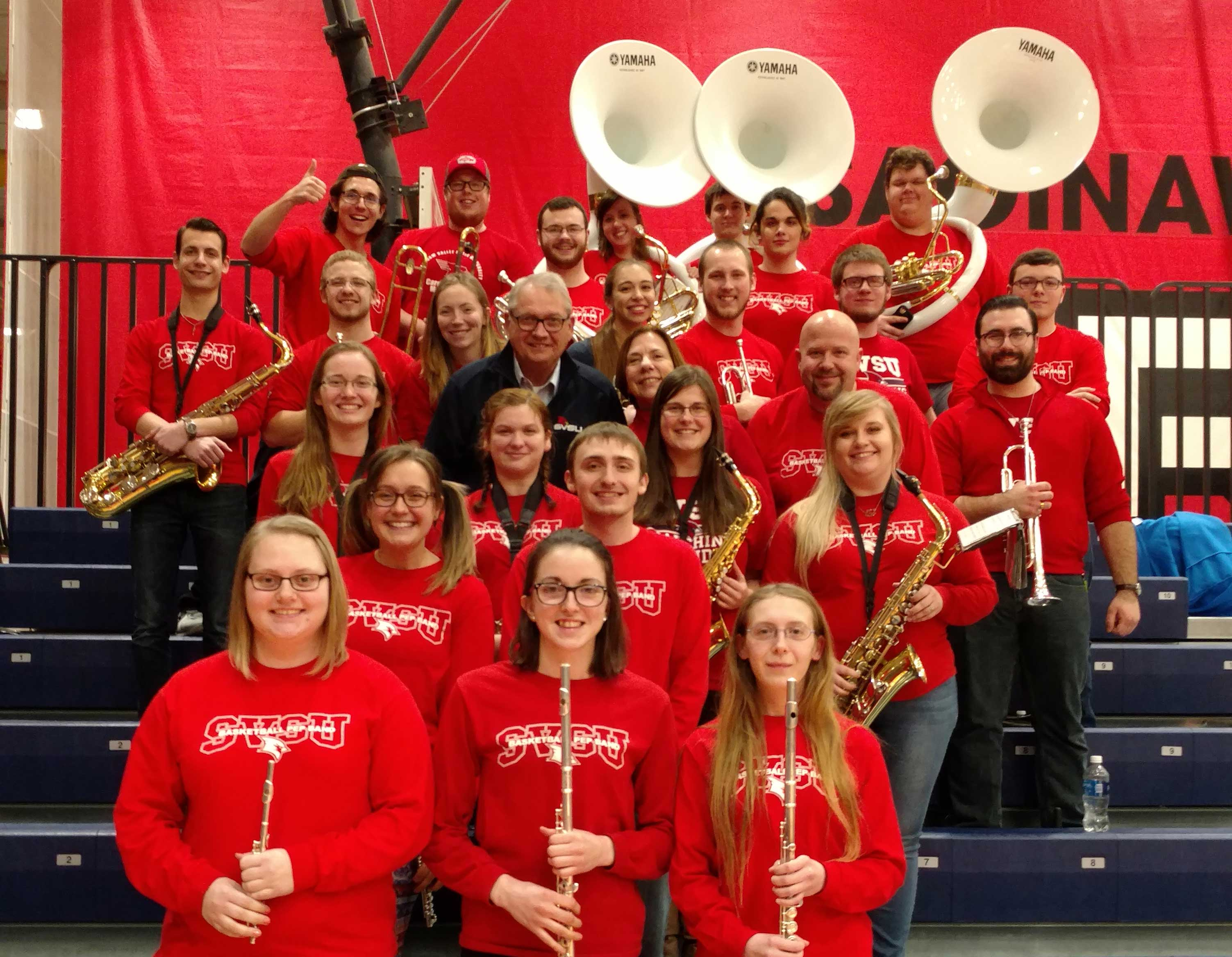 The pep band at the women's basketball game.
