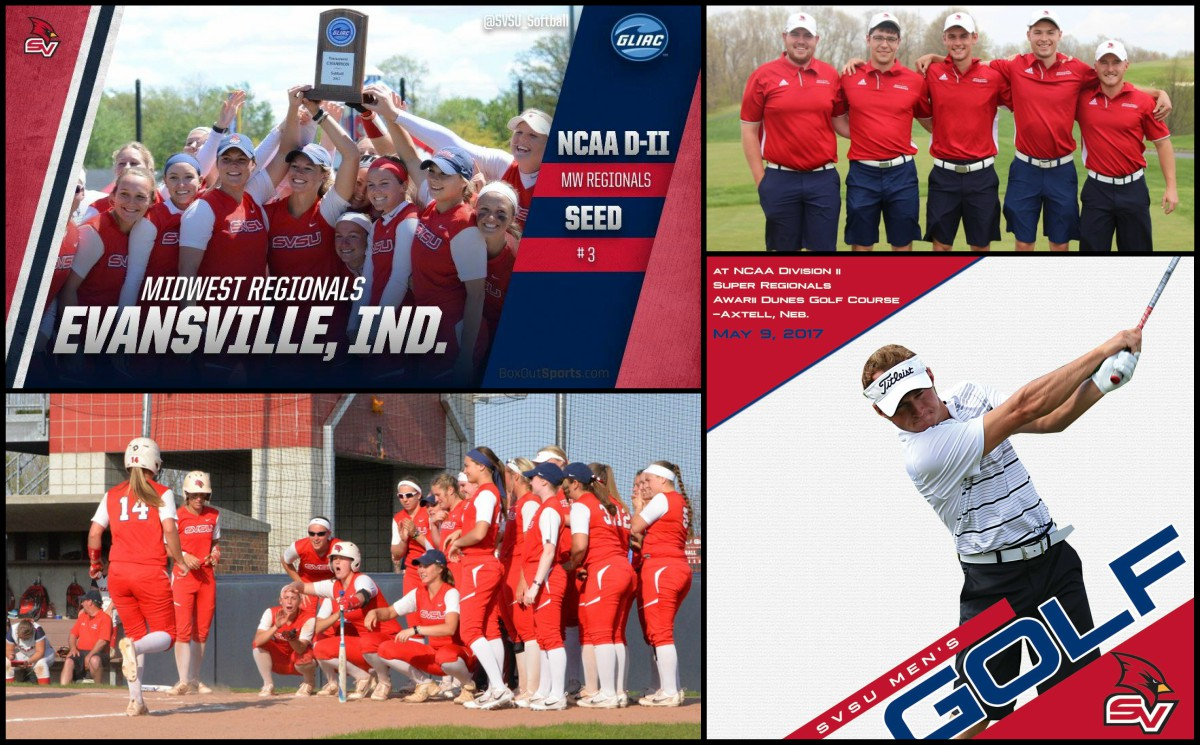 Softball and men's golf team compete in post season play, photo collage of team photos and action shots