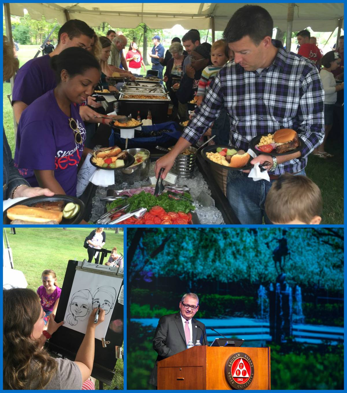 Collage of images of families enjoying the Annual Welcome Back address and picnic scheduled for Thursday, Aug. 24