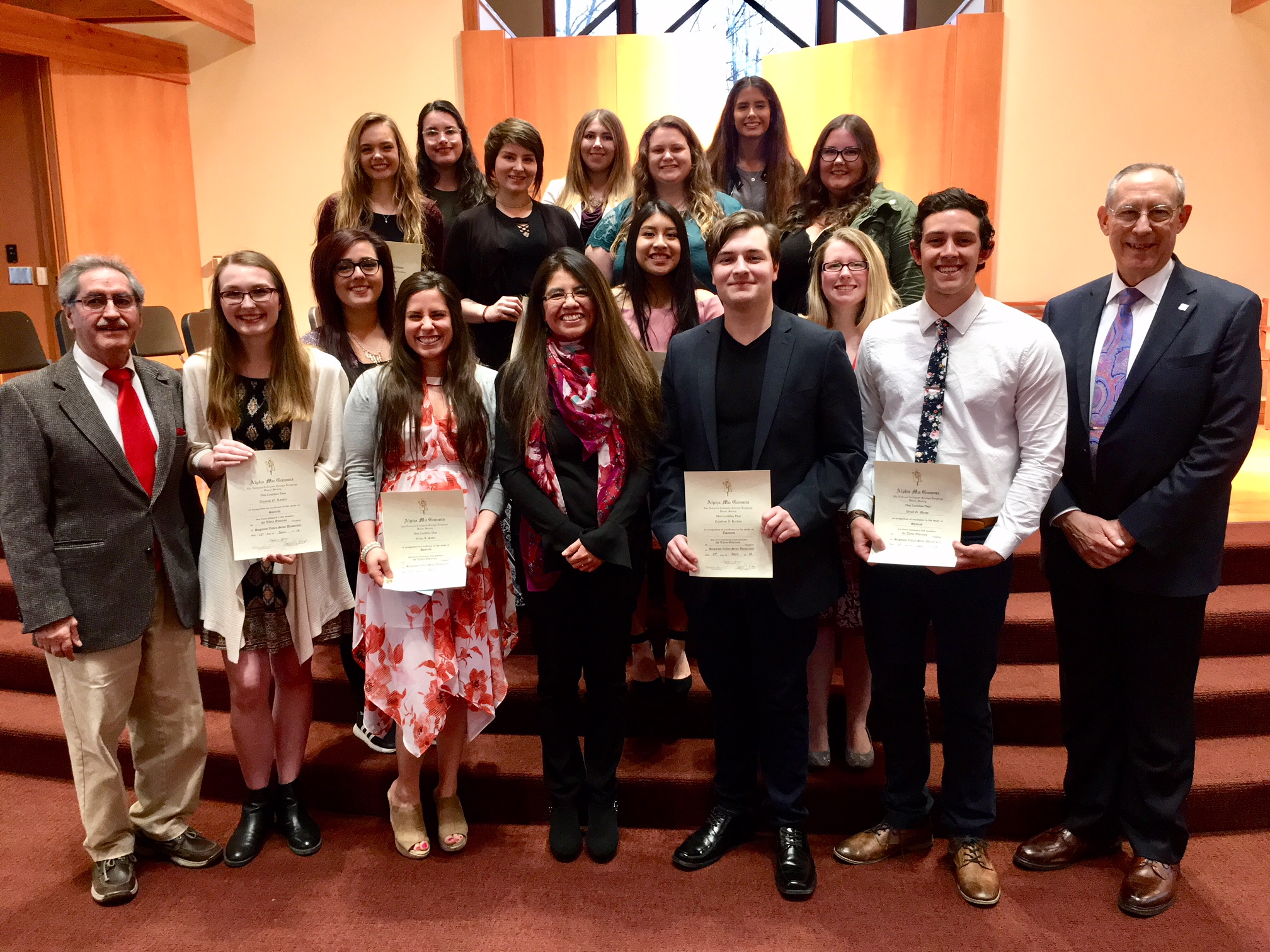 Congratulations to the 11 students initiated last Friday into Alpha Mu Gamma-Theta Omicron, SVSU's chapter of a national collegiate foreign language honor society.