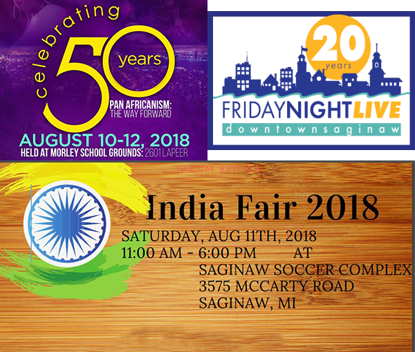 A college of logos for the African Cultural Festival, Friday Night LIve, and the India Fair