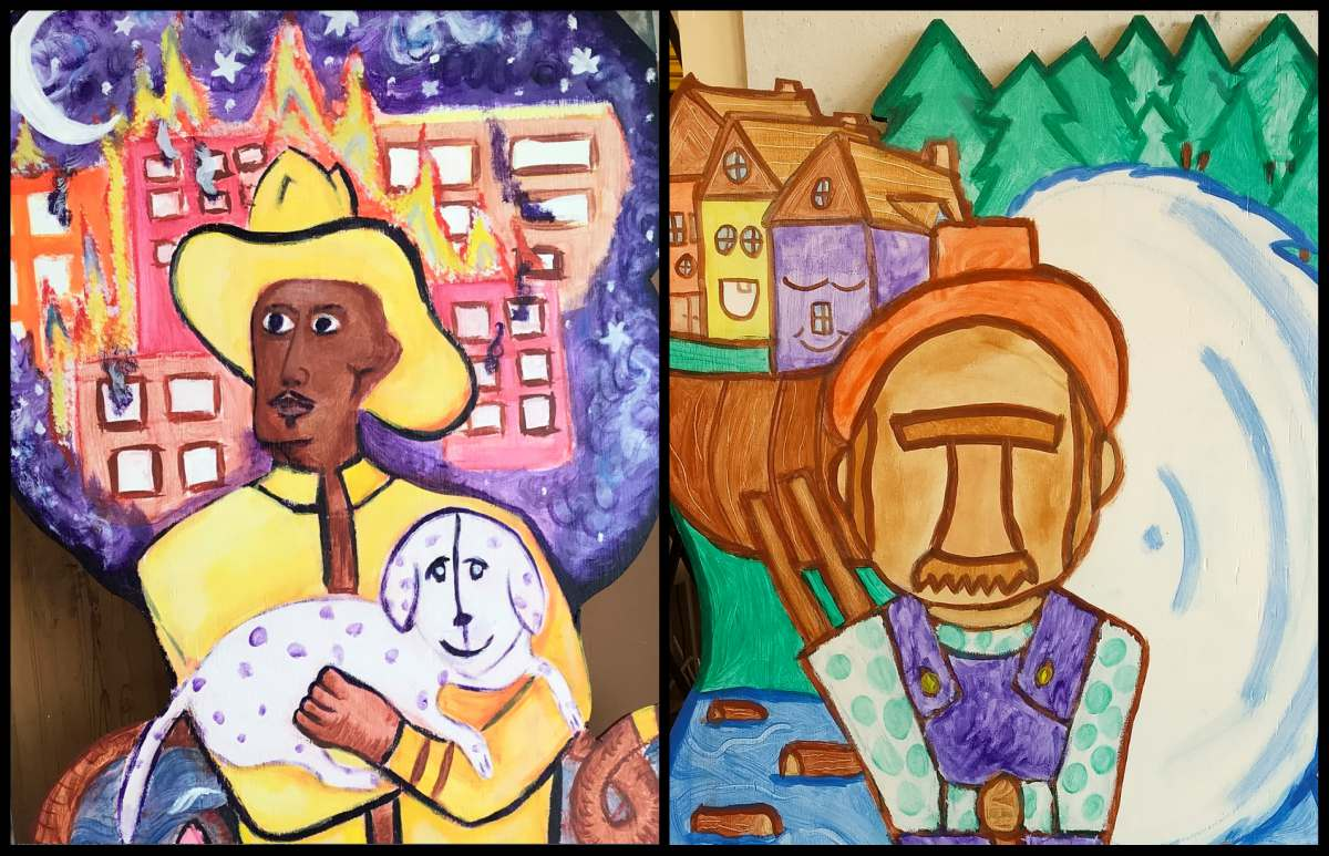 Our art students are honoring Bay City's most influential individuals and professionals by creating 10 different murals, pictured are two lumberjacks and fire fighters.