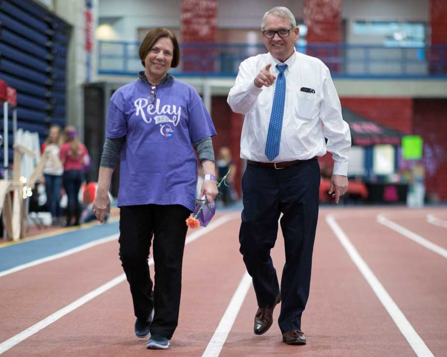 Liana and Don Bachand walk at Relay for Life 2018.
