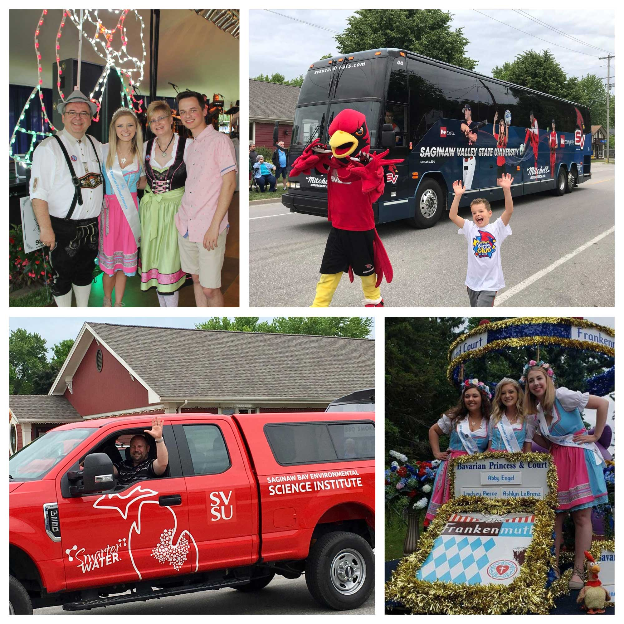 A collage of photos from the 2018 Bavarian Festival, including Coop in parade, athletic bus, SBESI truck, and Abby Engel, who graduated in May with a bachelor's degree in communication, even served as Bavarian Festival Princess