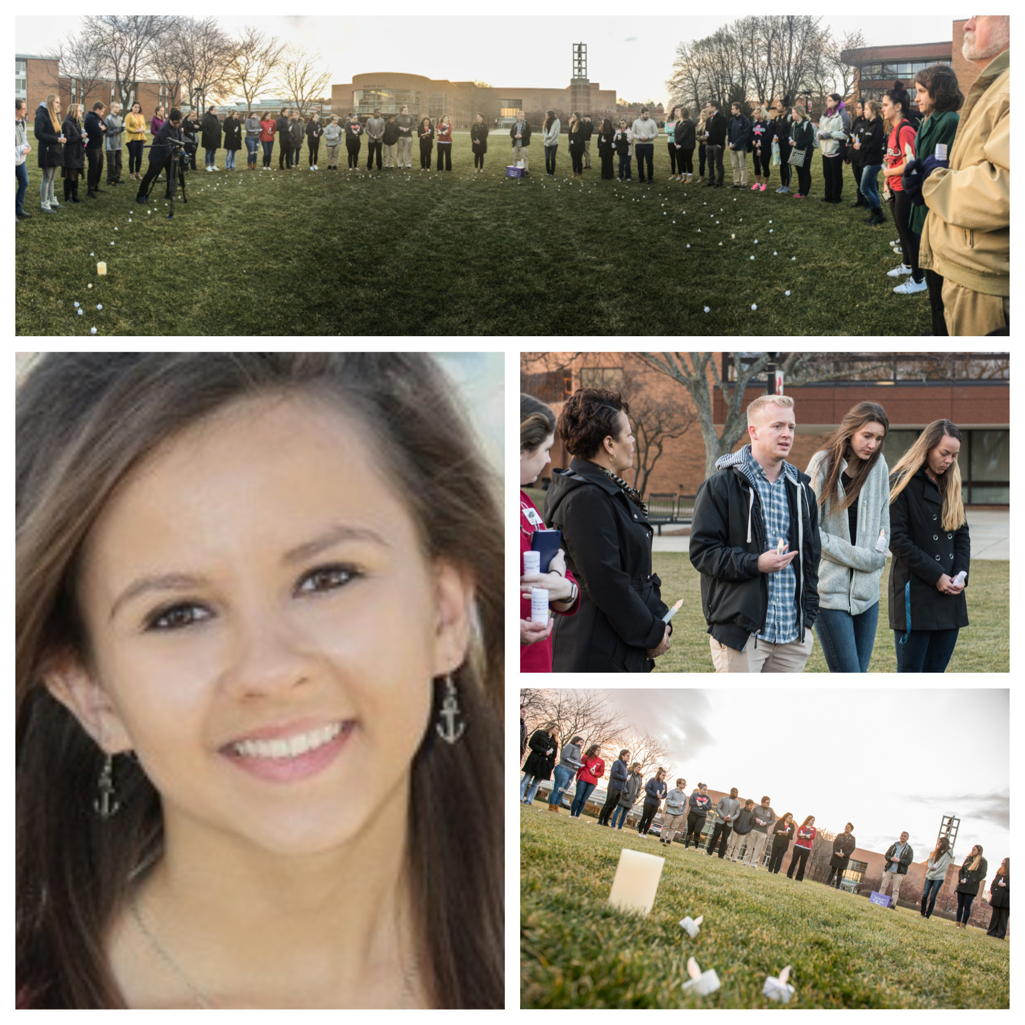 A collage of photos from the candlelight vigil honoring Katie Bonini.
