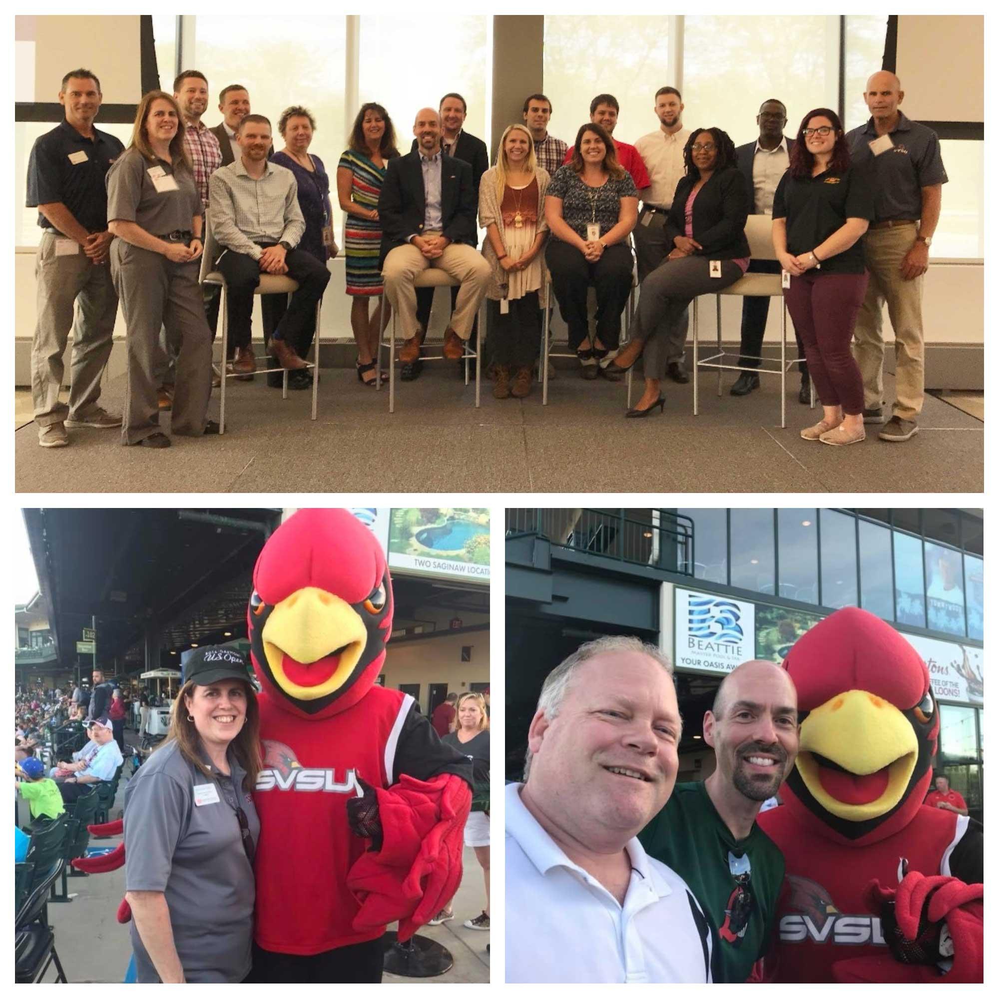 Top: a group of SVSU alumni and Dow employees. Bottom two: Two pictures at Loons baseball game