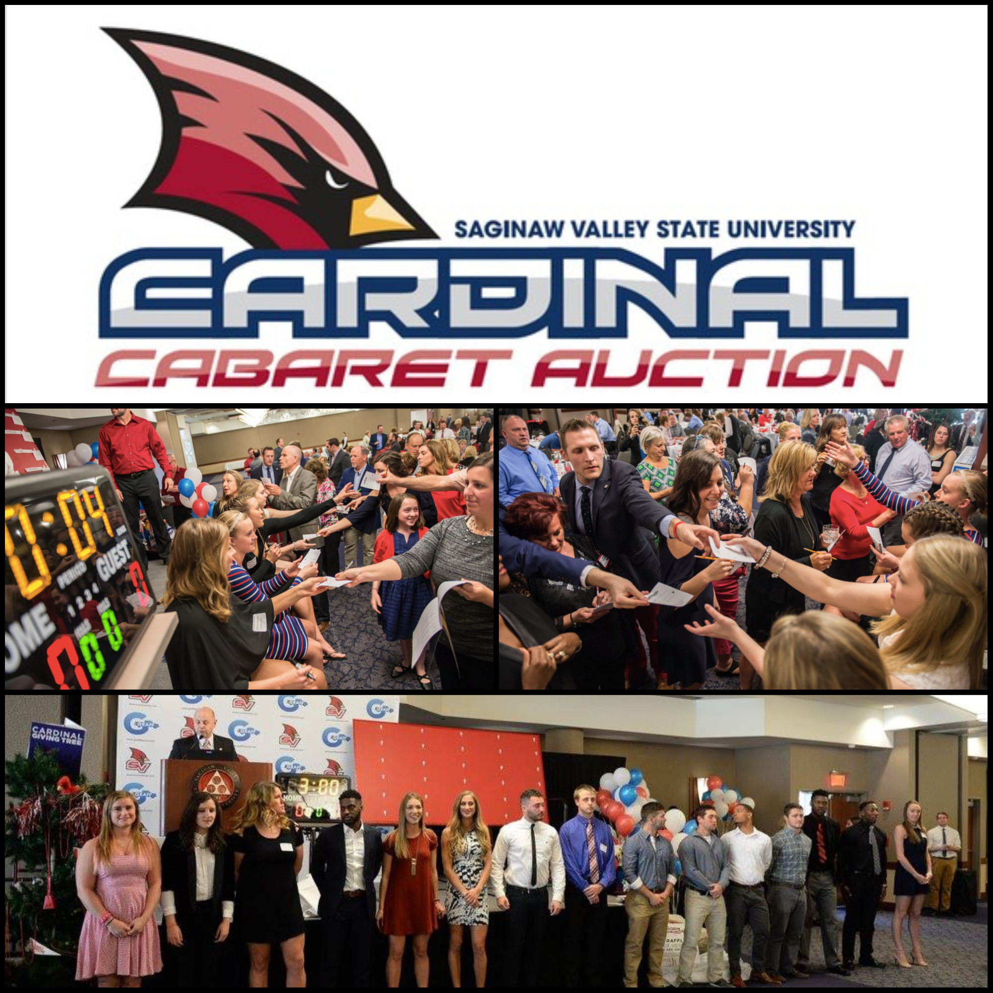 A collage of photos of the 2017 Cardinal Caberet.