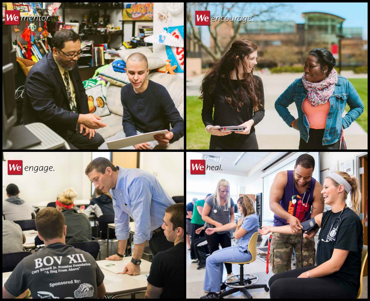 Collage of images relating to college experience including faculty with students in class, faculty assisting students in office, students walking on campus and students engaged in experiential learning activities.
