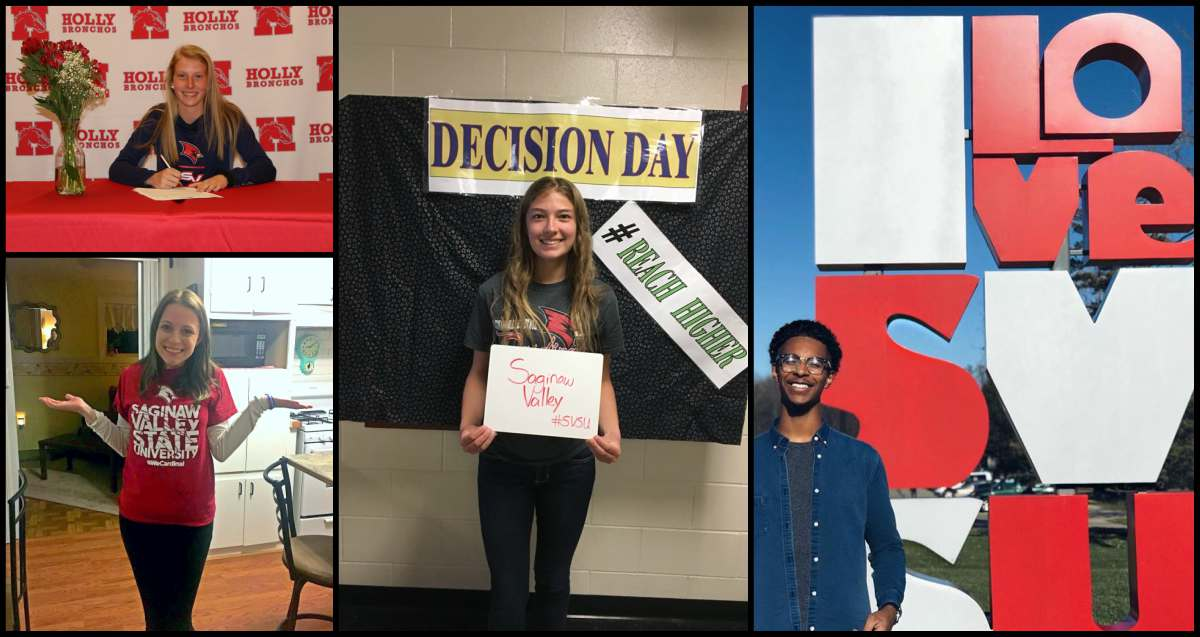 "Collage of students announcing their college choice to attend SVSU during the annual ""Decision Day"""
