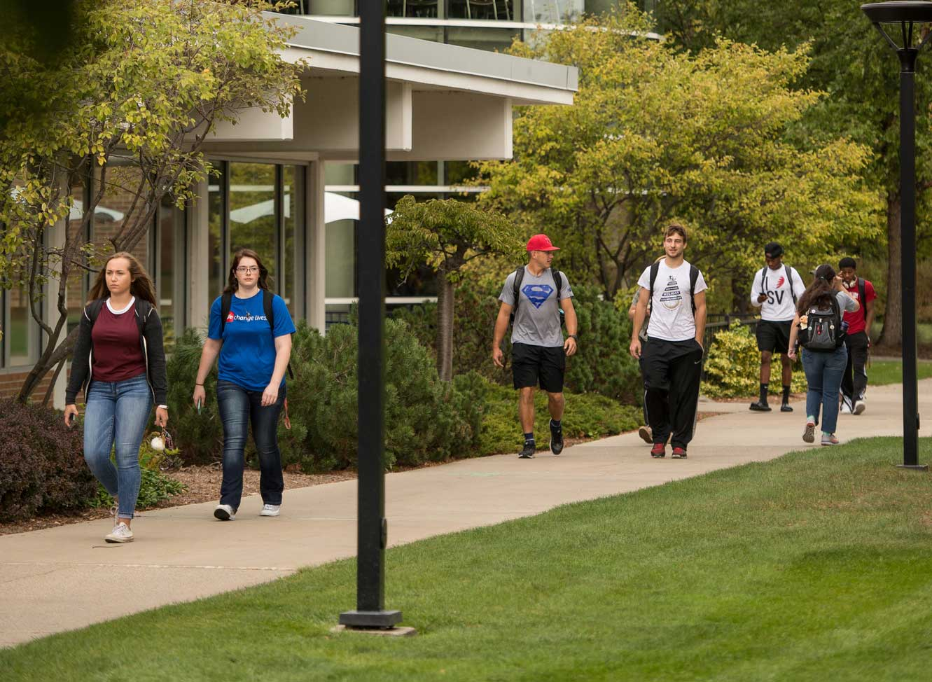 Students walking outside Doan