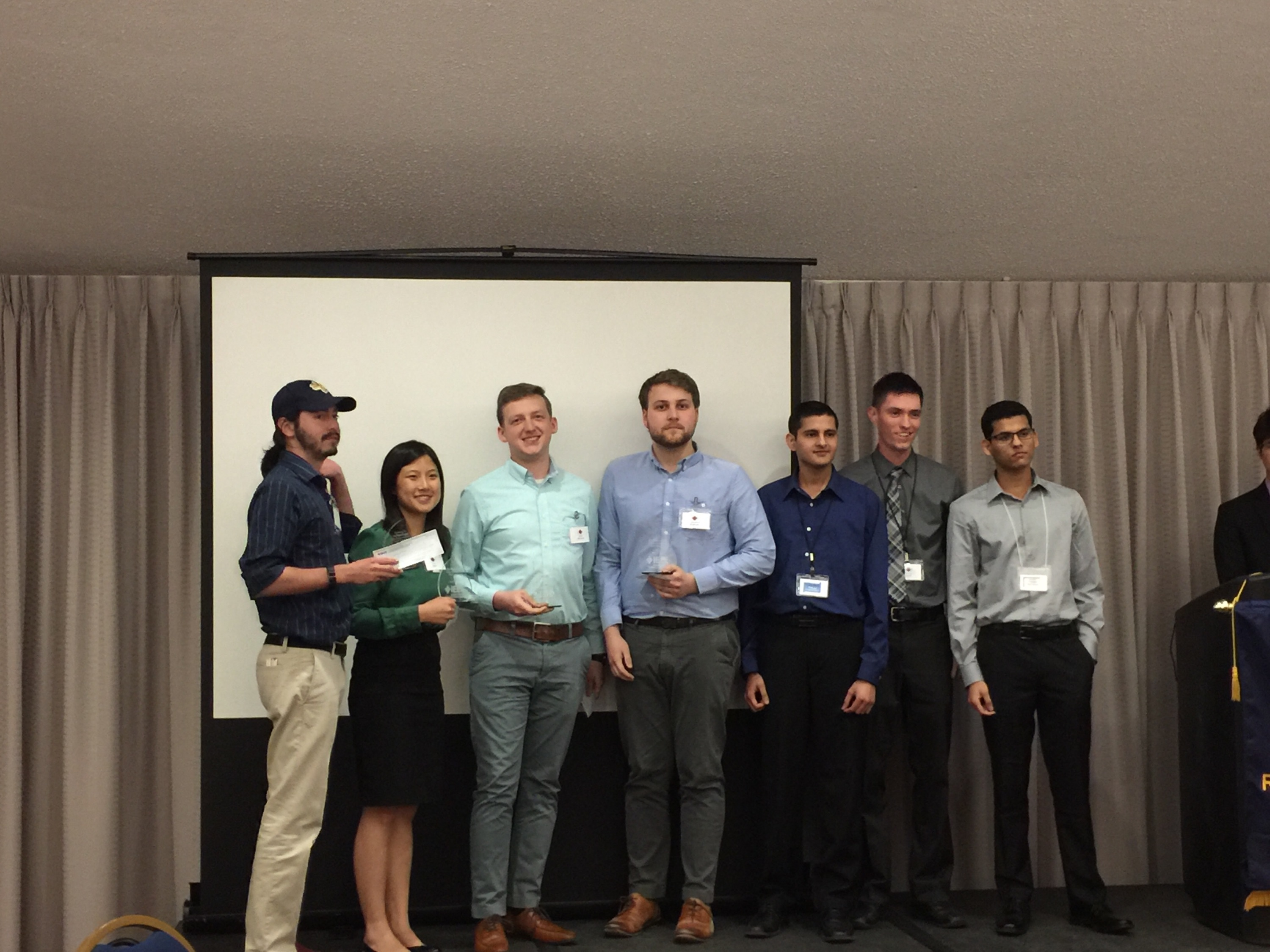 Two of our senior electrical engineering majors who placed first in a competition during the Institute of Electrical and Electronics Engineers Region 4 Student Leadership Conference last weekend at Northern Illinois University. Nate Scharich of Saginaw Township and Alexander Shibilski of Freeland were the Region 4 champions in the circuit design and Arduino coding competition.