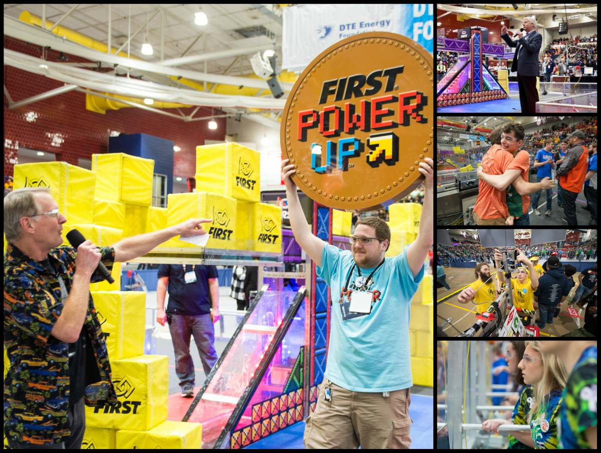 Photo collage from the FIRST Robotics state finals depict opening ceremonies of a man holding a sign with the 2018 theme, Power Up.  Also pictured is Gov. Snyder addressing the crowd and students in action working and operating robots.