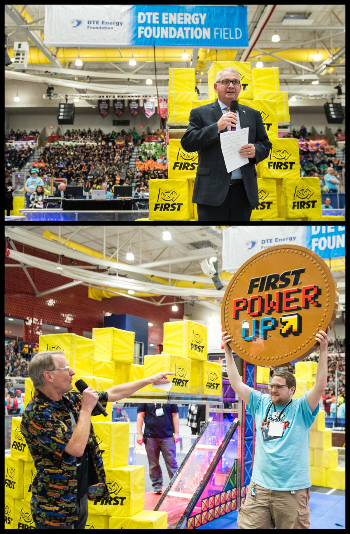 Collage of photos from FIRST Robotics Championships 2018