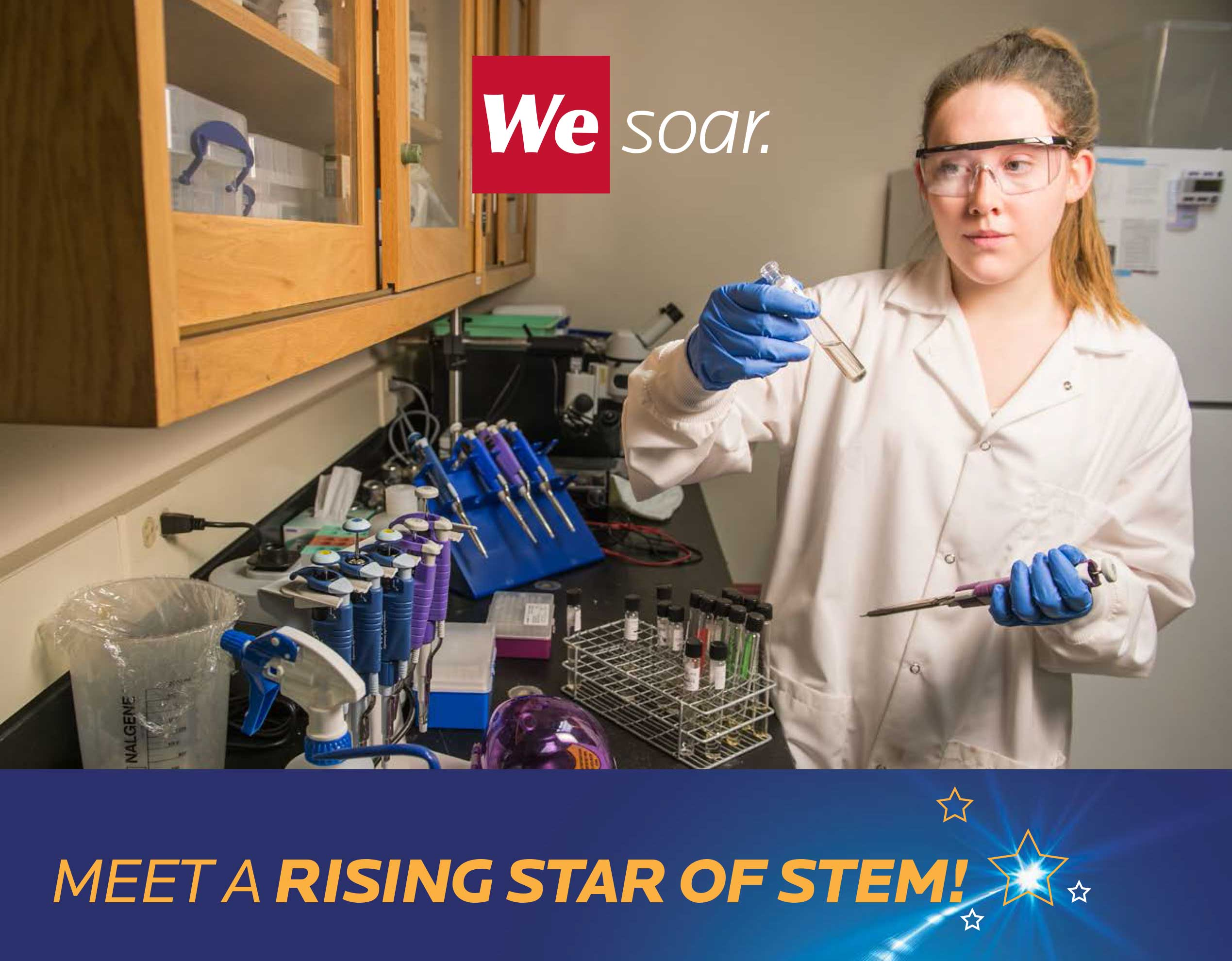 Grace Macomber, a freshman biology major in a white lab coat with small vile of water. Rising Stars of STEM wordmark.