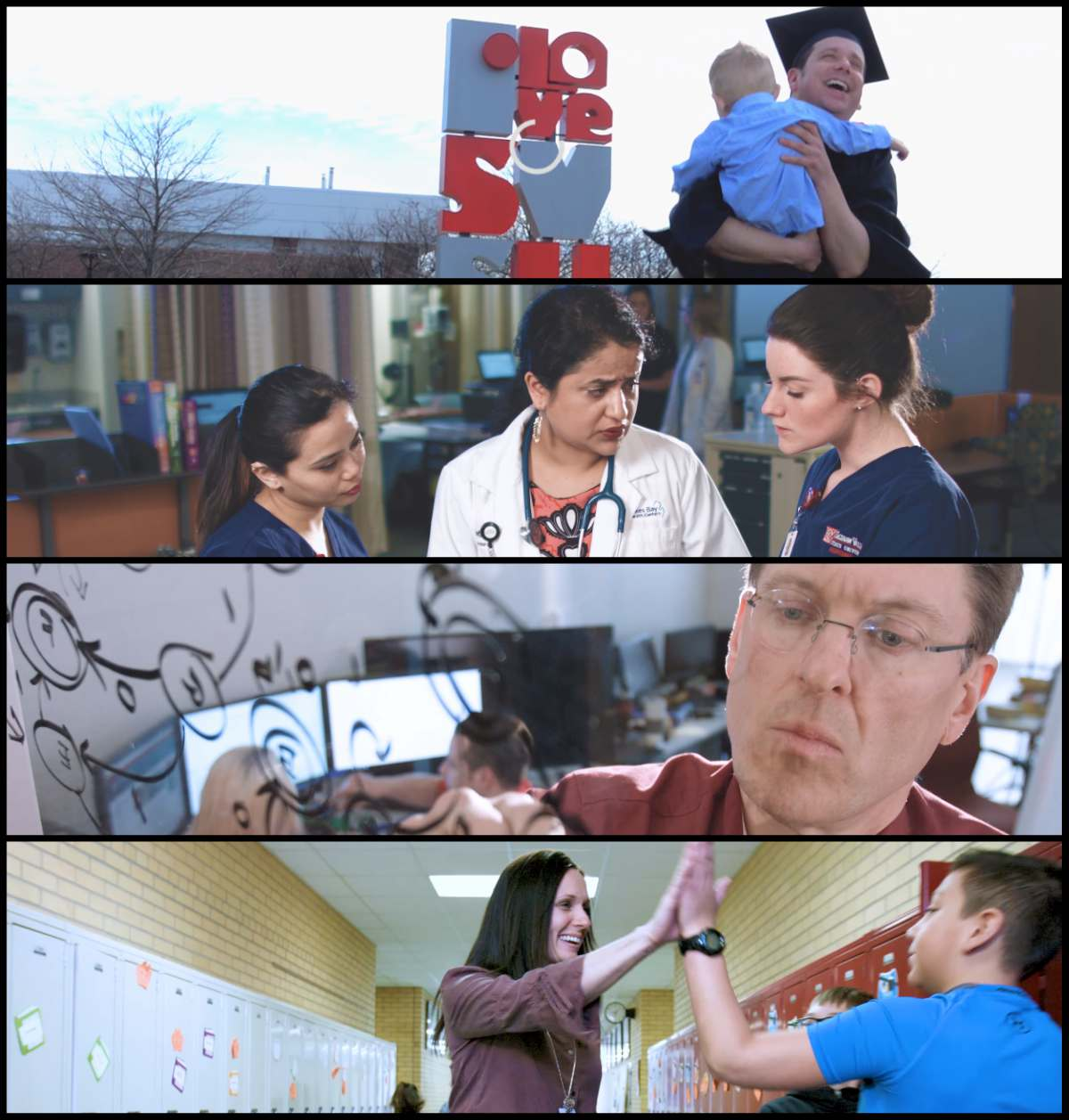 Collage of scenes from 2018 graduate programs video commercial