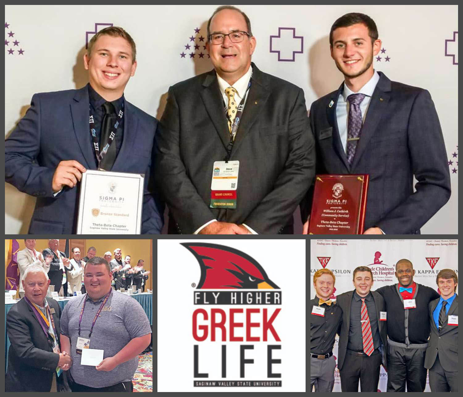 collage of Greek organizations with awards