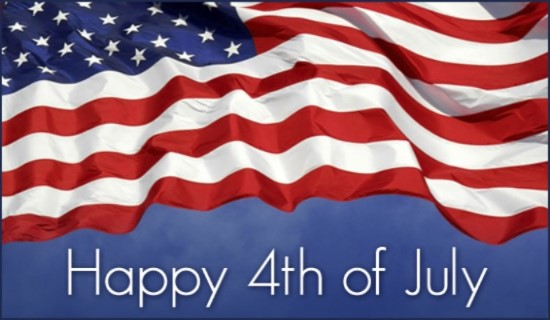 A Fourth of July graphic with the flag.