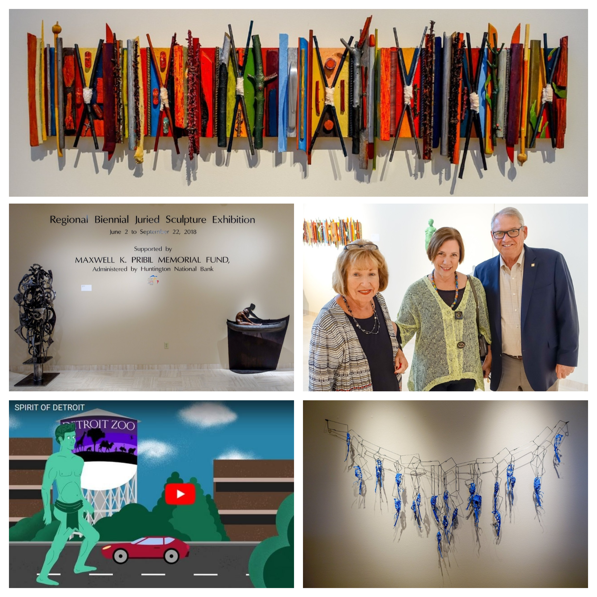 A collage of artwork at the biennial juried art show