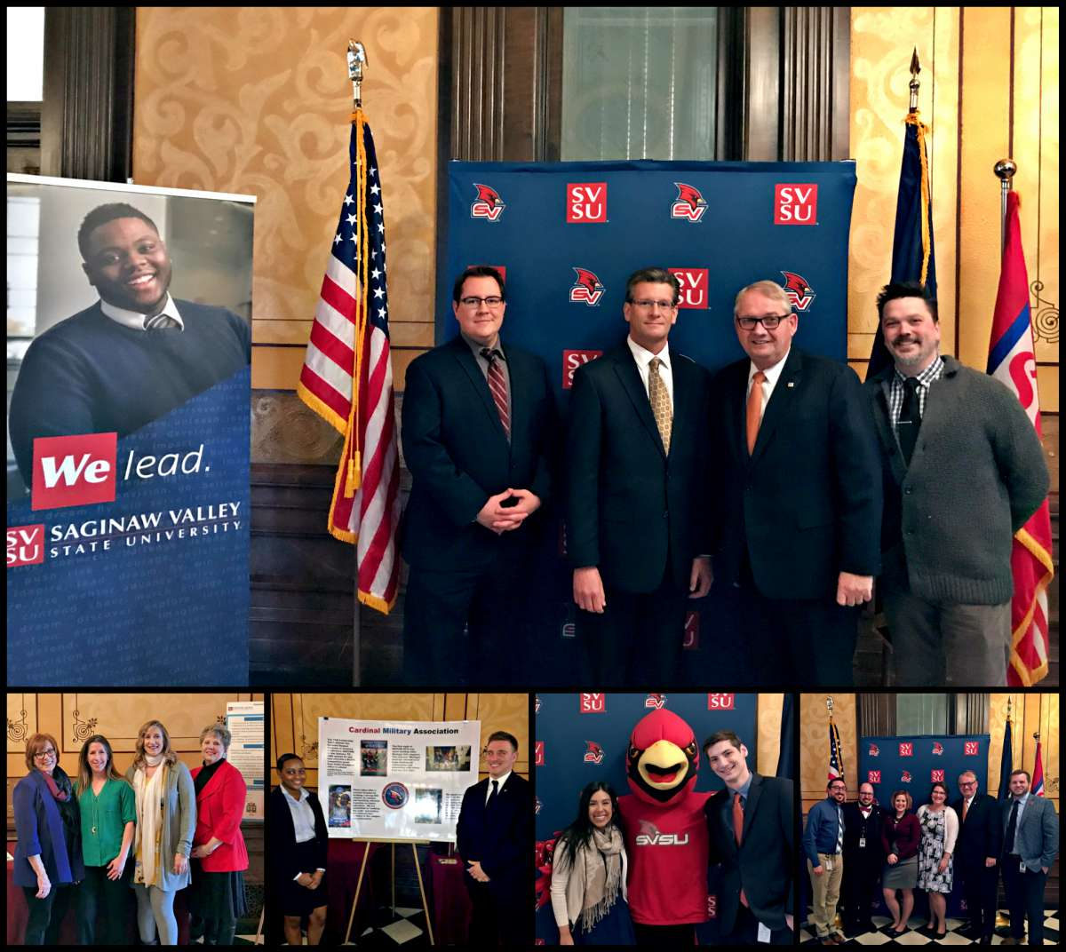 Cardinals in the Capitol gathering in Lansing. A caravan of students, staff and faculty traveled there to participate in a poster session/luncheon in the State Capitol building, as well as a legislative reception in the early evening at a nearby restaurant.