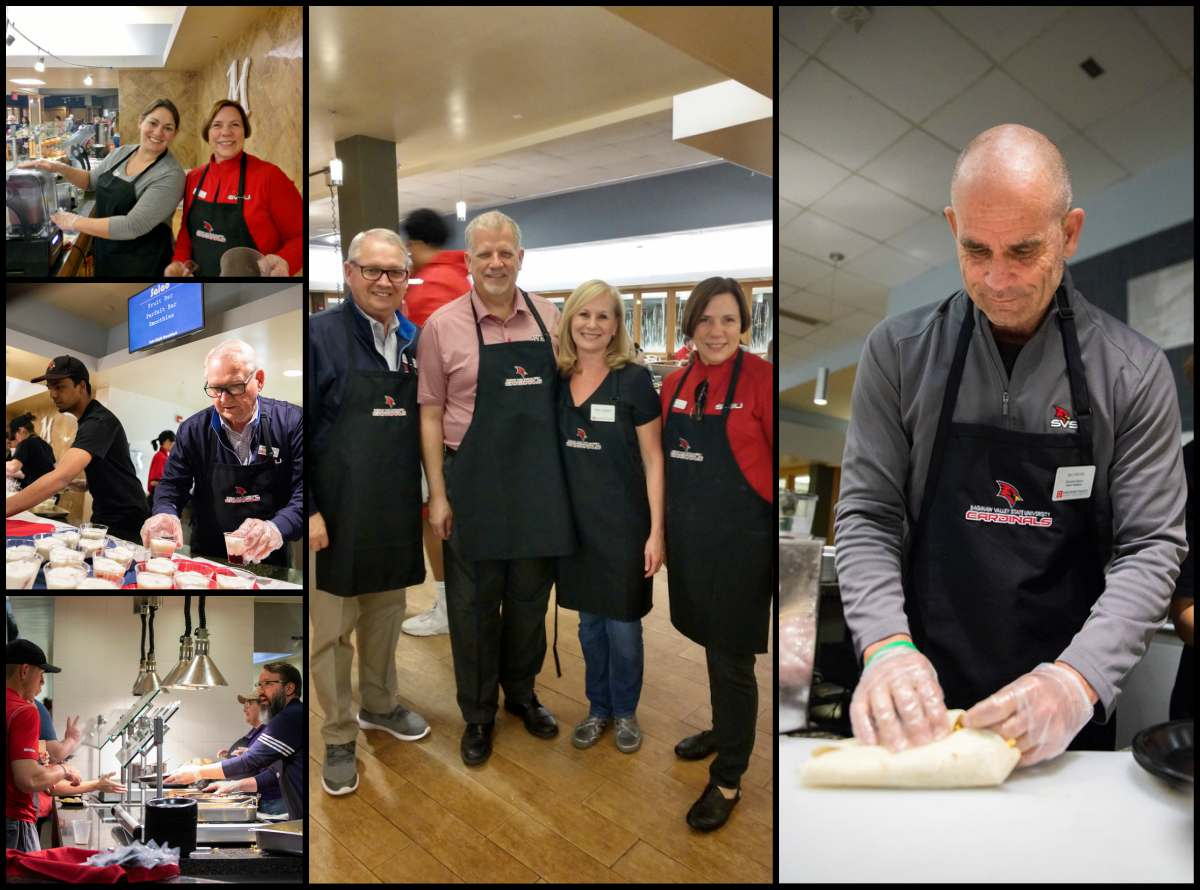 Collage of images of SVSU faculty and staff participating as servers for over 750 of our hard-working students on Sunday to ease the tensions of exam week during the Late Night Breakfast hosted by Dining Services