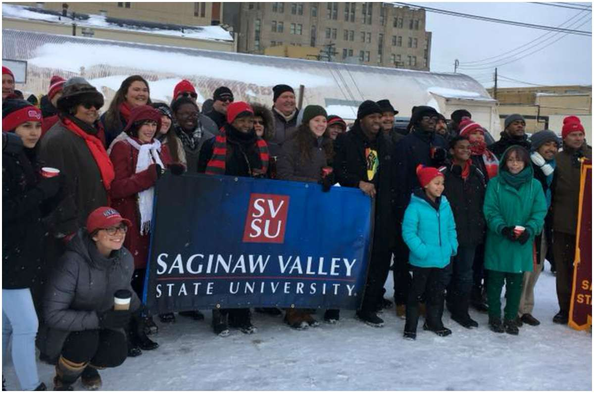 SVSU participates in the 2018 Martin Luther King Jr. march in downtown Saginaw.