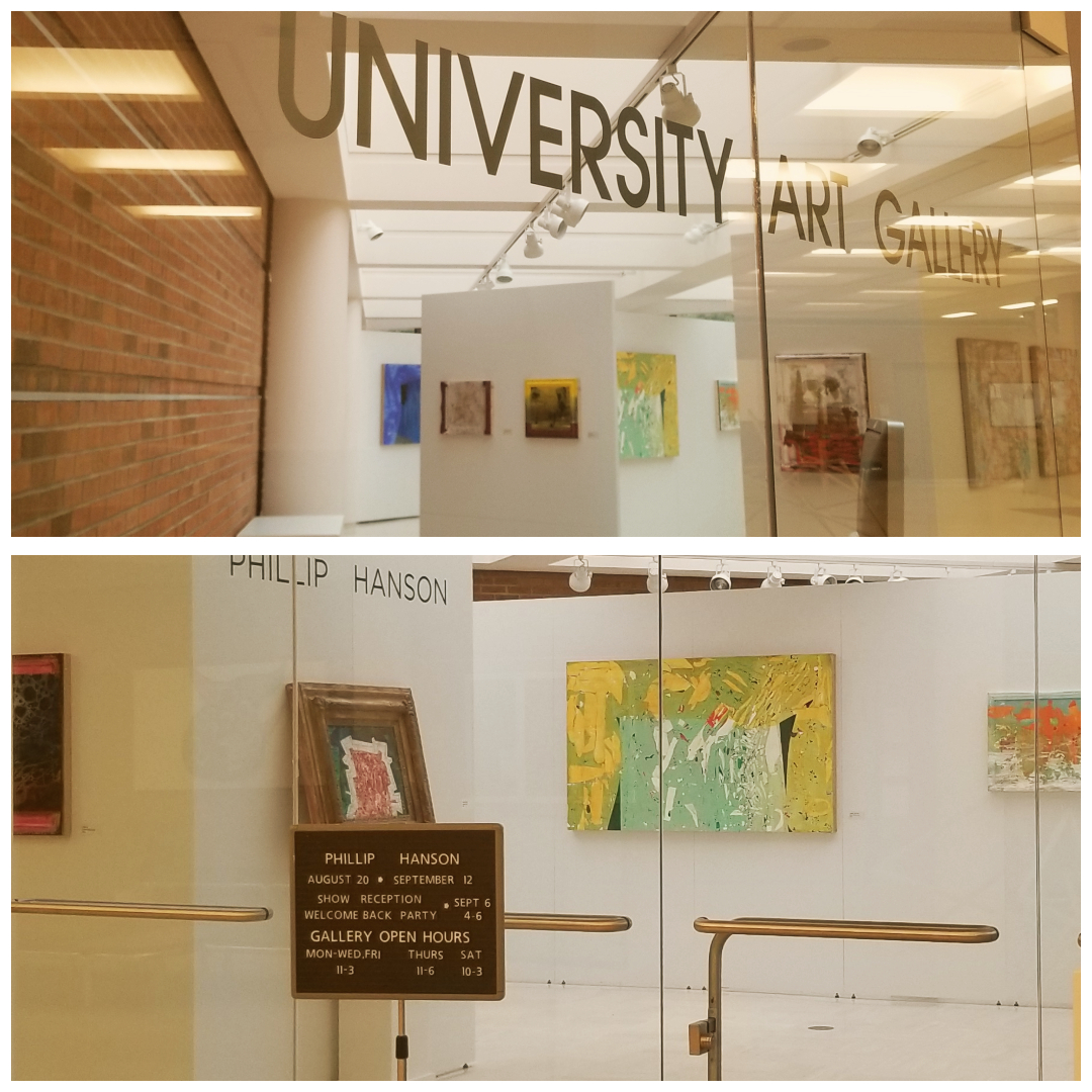 Two photos of the University Art Gallery with Phillip Hanson's exhibit
