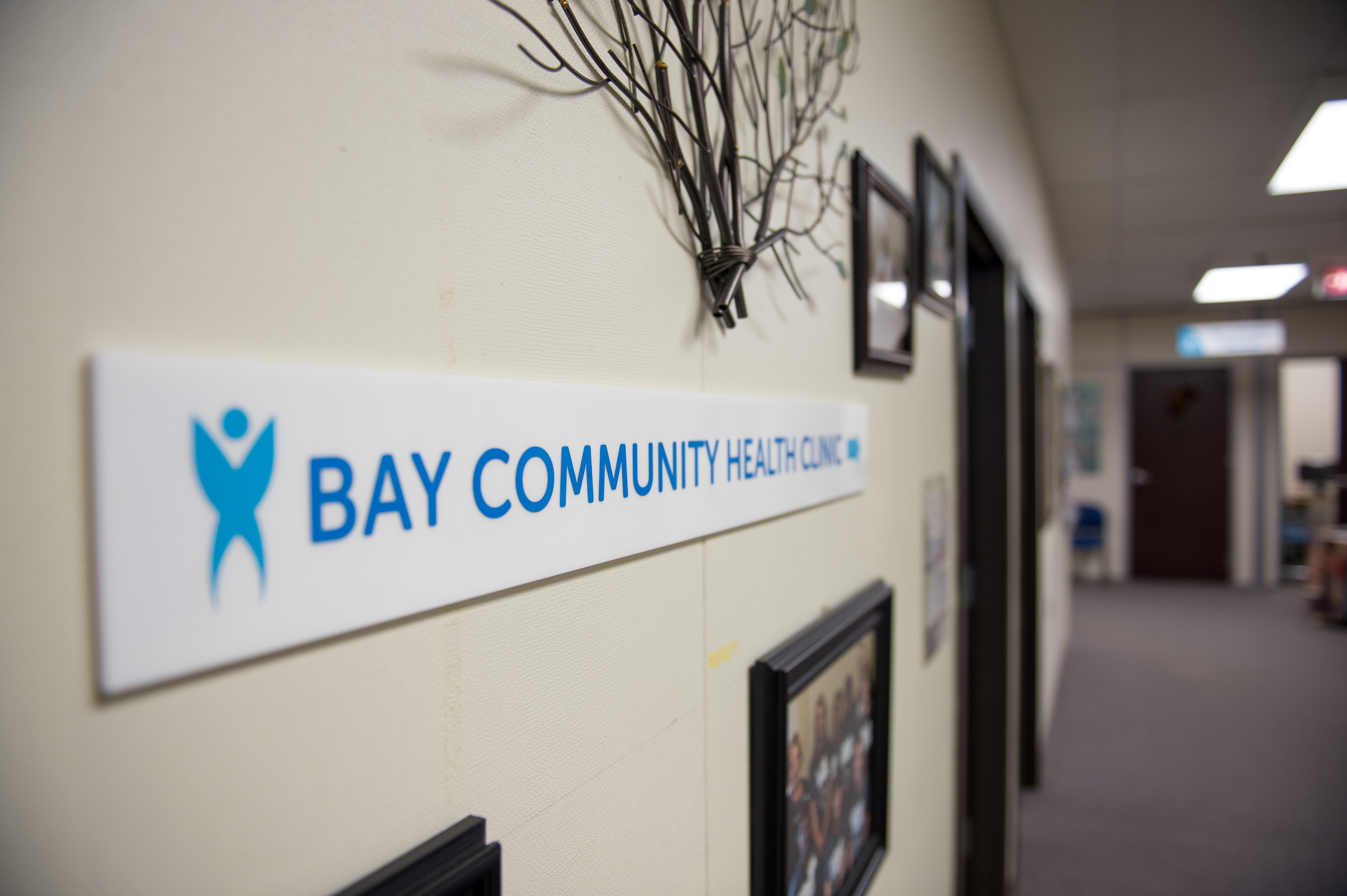 Bay Community Health Clinic entryway and sign