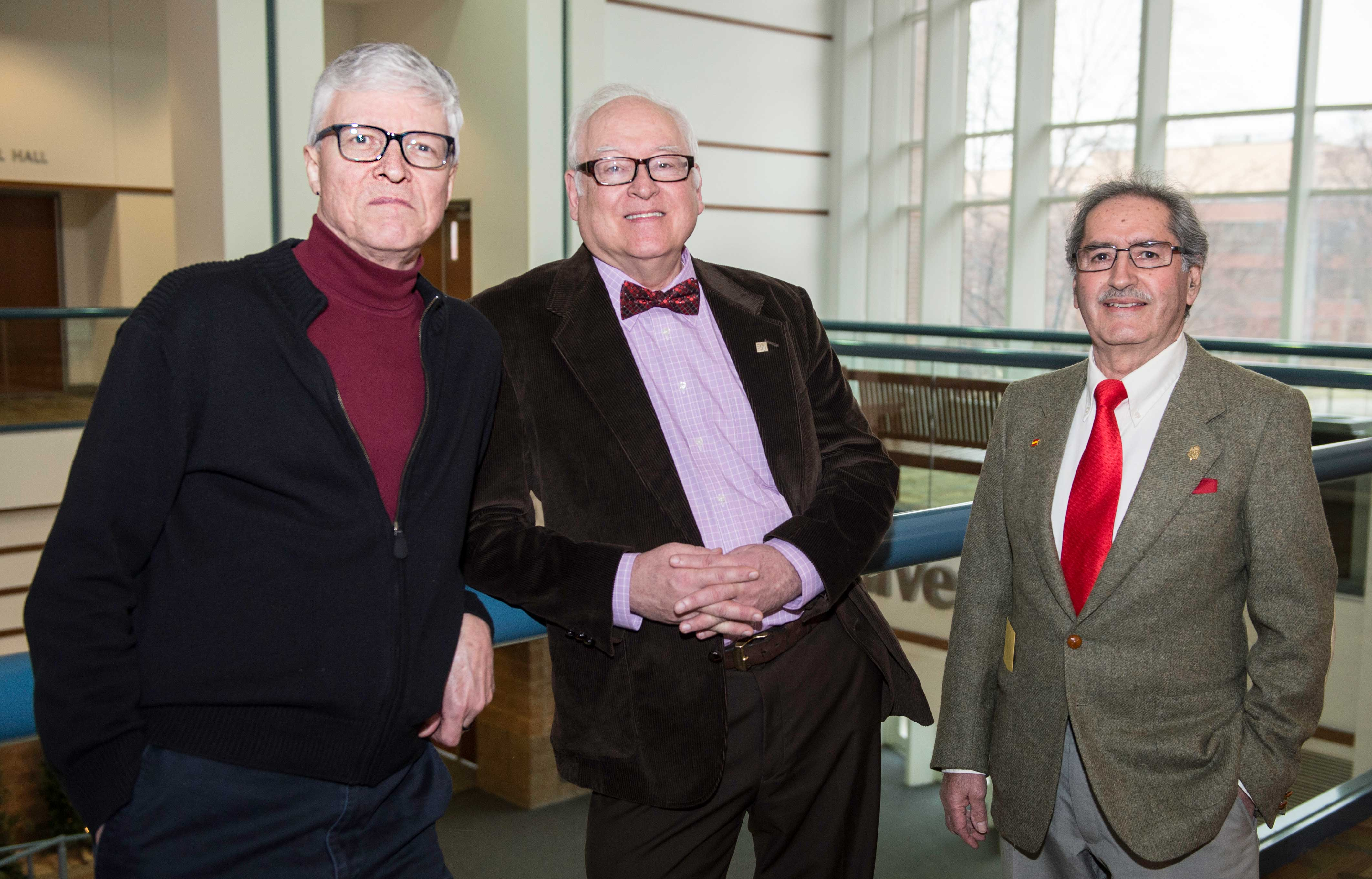 Ricardo Pastor, a professor of modern foreign languages with 41 years at SVSU; Gerald Peterson, a professor of psychology with 37 years at the university; and Paul Munn, a professor of English with 30 years here.