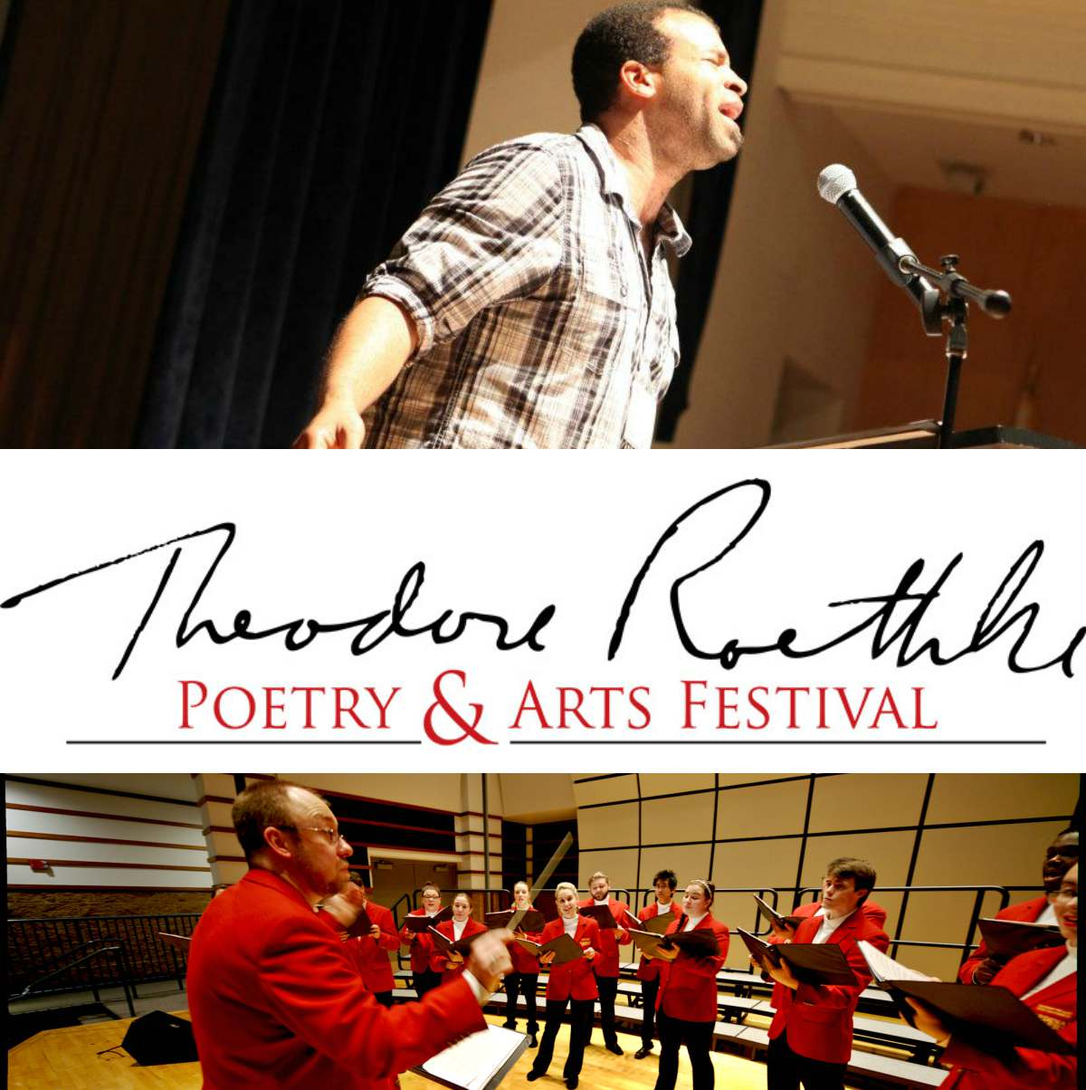 Promotion for Roethke Fest with event logo and images of events.