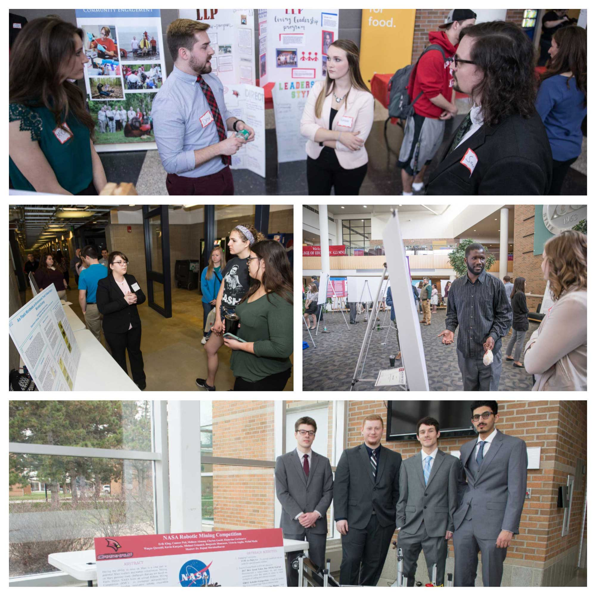 A collage of the Spring Science, Engineering and Technology and ABS student showcases.