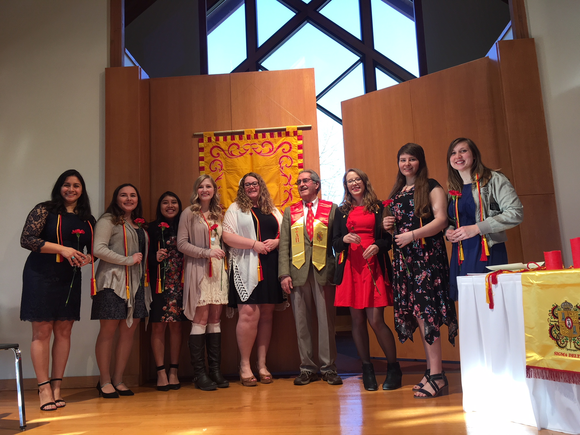 SVSU chapter of the Sigma Delta Pi honor society, Omega Kappa, which supports students studying Spanish