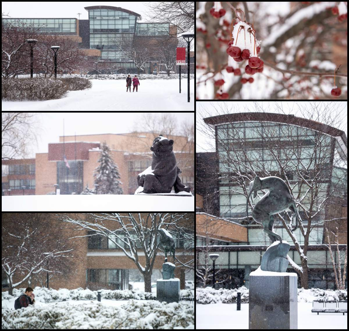 College of images from around a snow-covered campus