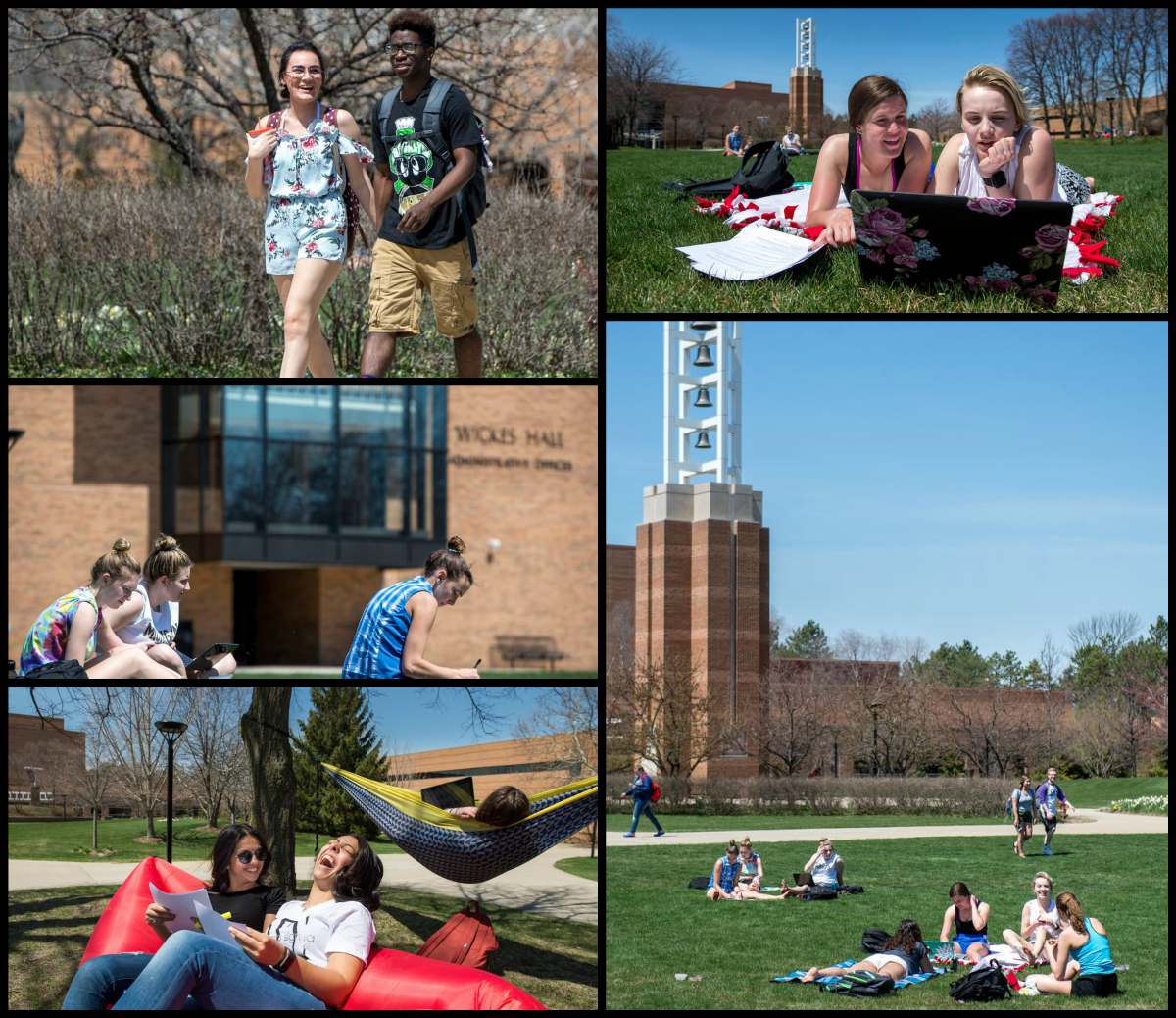 Collage of images of students enjoying the spring temperatures during exam week of winter semester.