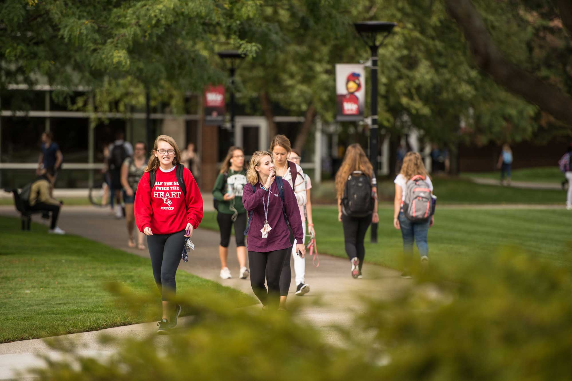 Students walking in courtyard