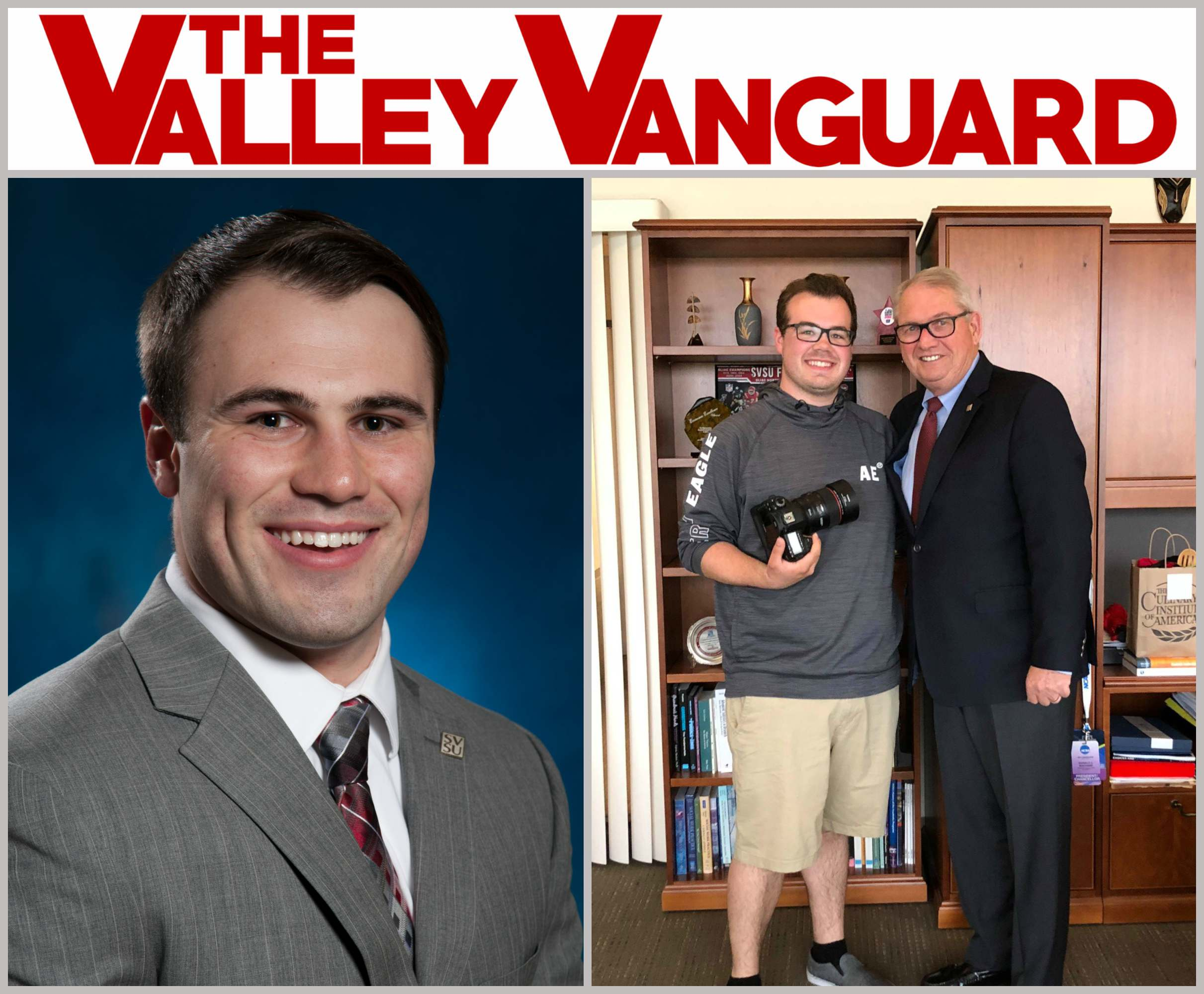 Collage of images featuring Valley Vanguard logo and students recognized for outstanding achievement being nominated as a top 3 finalist for the best college newspaper award by the Michigan Press Association