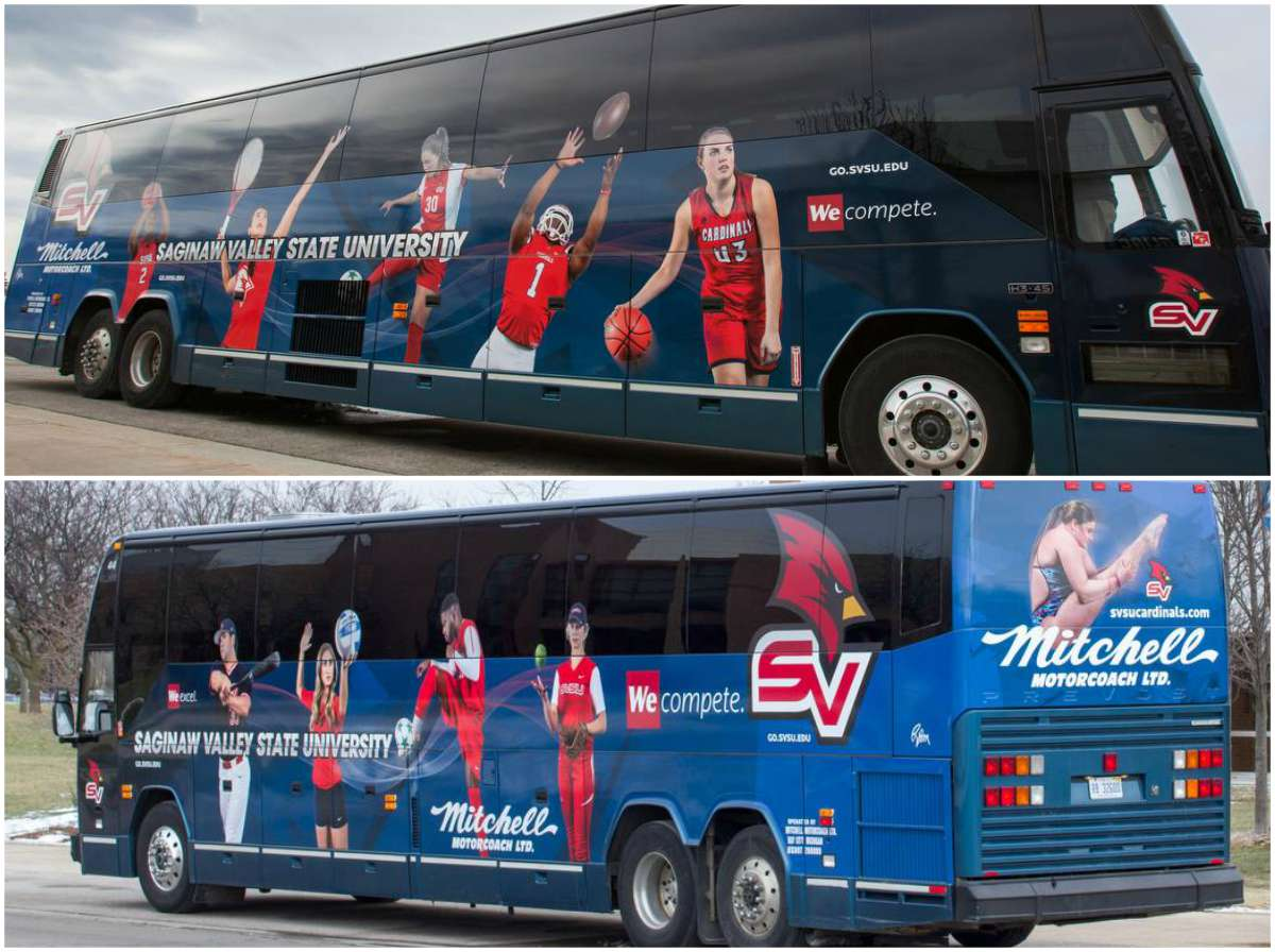 New, sleek Athletics bus from Mitchell Motorcoach featuring images of student-athlete alumni on its exterior.
