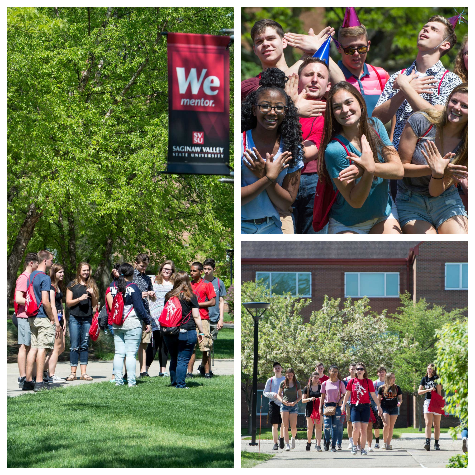 A collage of three photos of orientation with students in the courtyard.